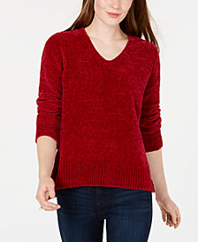 Maison Jules V-Neck Chenille Sweater, Created for Macy's