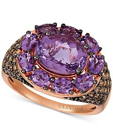 Le Vian® Amethyst (3-3/4 ct. t.w.) & Chocolate Diamond® (5/8 ct. t.w.) Statement Ring in 14k Rose Gold