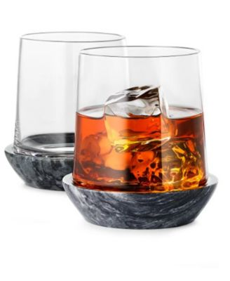 Set of 2 Whiskey Glasses with Black Marble Coasters, Created For Macy's