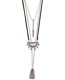 "Lucky Brand Silver-Tone Crystal & Chain Tassel Leather Cord 19-1/2"" - 31-1/2"" Multi-Layer Necklace"