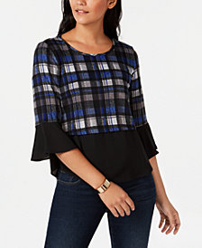 NY Collection Petite Plaid Knit Top