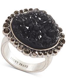 Lucky Brand Silver-Tone Pavé & Druzy Stone Statement Ring