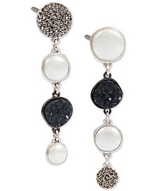 Lucky Brand Silver-Tone Pavé, Stone & Imitation Pearl Mismatch Linear Drop Earrings