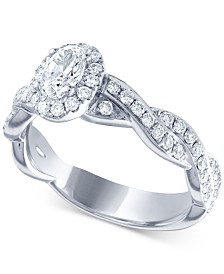 Diamond Oval Twist Engagement Ring (1 ct. t.w.) in 14k White Gold