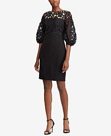 Lauren Ralph Lauren Petite Lace-Trim Dress
