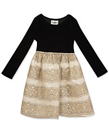 Rare Editions Toddler Girls Velvet Embroidered Party Dress