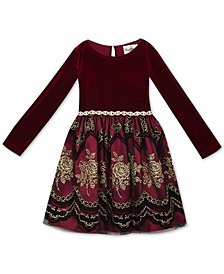 Rare Editions Little Girls Velvet Flocked Party Dress