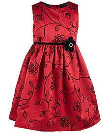 Good Lad Little Girls Satin Flocked Dress