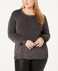 Plus Size Metallic-Knit Sweater