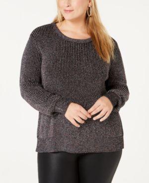 BELLDINI Plus Size Metallic-Knit Sweater in Black Combo