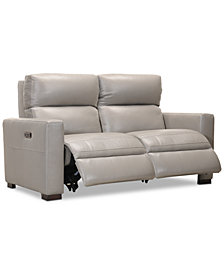 "Clynton 63"" Leather Dual Power Loveseat with USB Power Outlet"