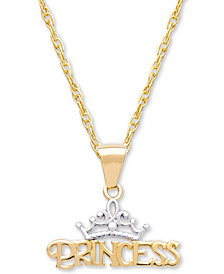"Disney© Children's Princess Tiara 15"" Pendant Necklace in 14k Gold"