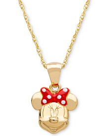 "Disney© Children's Minnie Mouse Bow 15"" Pendant Necklace in 14k Gold"