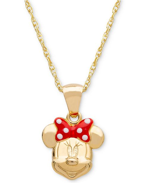 "Disney Children's Minnie Mouse Bow 15"" Pendant Necklace in 14k Gold"