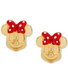 Disney© Children's Minnie Mouse Bow Stud Earrings in 14k Gold