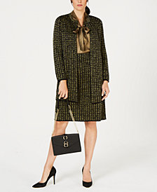 Kasper Topper Jacket, Tie-Neck Blouse & Pull-On Skirt