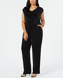 NY Collection Plus & Petite Plus Size V-Neck Jumpsuit