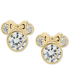 Disney© Children's Cubic Zirconia Minnie Mouse Stud Earrings in 14k Gold