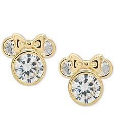 Disney© Children's Cubic Zirconia Minnie Mouse Stud Earrings in 14k Gold