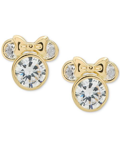 a99cbda43 ... Disney Children's Cubic Zirconia Minnie Mouse Stud Earrings in 14k Gold  ...