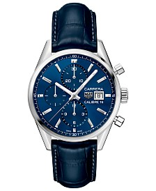TAG Heuer Men's Swiss Automatic Chronograph Carrera Calibre 16 Blue Alligator Strap Watch 41mm