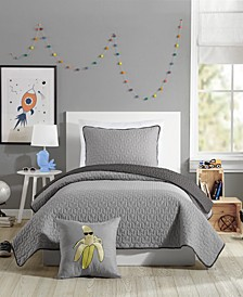 Coty Grey Twin Quilt Set - 2 Piece