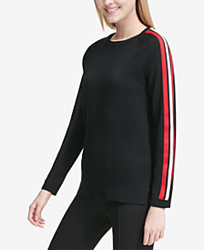 Calvin Klein Track-Stripe Crew-Neck Sweater