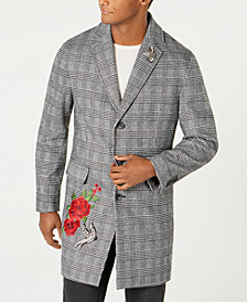 I.N.C. Men's Embellished Glen Plaid Topcoat, Created by Macy's