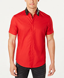 I.N.C. Men's Sequin Collar Short Sleeve Woven, Created for Macy's