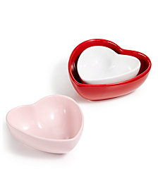 Martha Stewart Collection Set of 3 Heart Nest Bowls, Created for Macy's