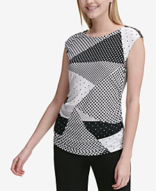 Calvin Klein Embellished Mixed-Print Sleeveless Top