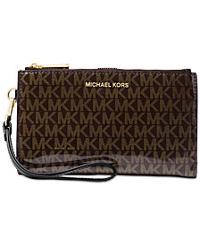 MICHAEL Michael Kors Signature Glossy Adele Double-Zip Wristlet, Created for Macy's