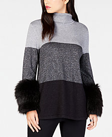 Alfani Petite Colorblocked Faux-Fur-Cuff Sweater, Created for Macy's