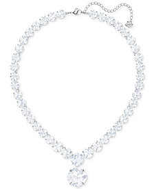 "Swarovski Silver-Tone Crystal Detachable Pendant Collar Necklace, 15-1/4"" + 2"" extender"