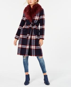 1940s Coats & Jackets Fashion History Guess Faux-Fur Collar Plaid Coat $228.00 AT vintagedancer.com