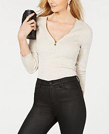I.N.C. Zipper Embellished Sweater, Created for Macy's