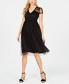 kensie Mesh Fit & Flare Dress