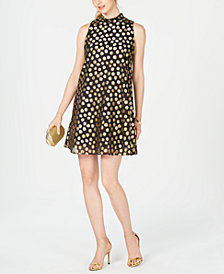 Robbie Bee Petite Polka-Dot Trapeze Dress