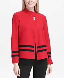 Calvin Klein Stripe-Detail Jacket Sweater