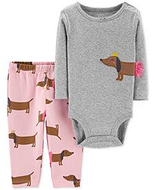 Carter's Baby Girls 2-Pc. Cotton Bodysuit & Allover Dog-Print Pants Set