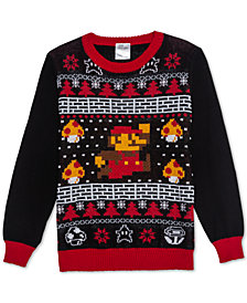 Nintendo Big Boys Mario Mushroom Holiday Sweater