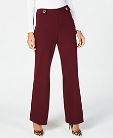 I.N.C. Wide-Leg Hardware-Detail Pants, Created for Macy's