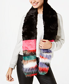 Steve Madden Patched Faux-Fur Scarf