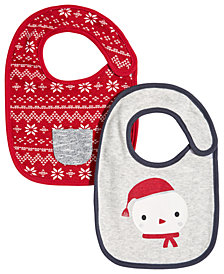 First Impressions Baby Boys 2-Pack Holiday Bibs, Created for Macy's