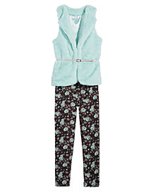 Beautees Big Girls 2-Pc. Faux-Fur Vest & Floral-Print Leggings Set