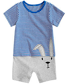 First Impressions Baby Boys Striped Bunny-Print Cotton Romper, Created for Macy's