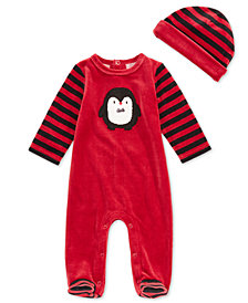 First Impressions Baby Boys 2-Pc. Velour Penguin Footed Coverall & Hat Set, Created for Macy's