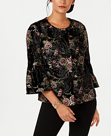 JM Collection Petite Embroidered Velvet Jacket, Created for Macy's