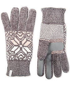 Isotoner Women's Touchscreen Chenille Gloves with Snowflake Accent, Created for Macy's