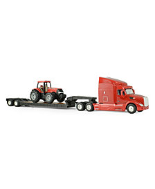 Tomy - Ertl Big Farm 1-32 Peterbilt Model 579 Semi With Lowboy And Case Ih Mx305 Tractor Backhoe Loader
